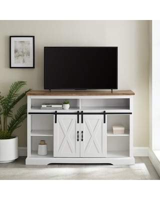 The Gray Barn Wind Gap Sliding Barn Door TV Stand Console (Solid White/Reclaimed Barnwood)