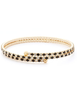 X & O 14KT Gold Plated Crystal Double Row Flex Bangle in Jet and White Crystal Combination