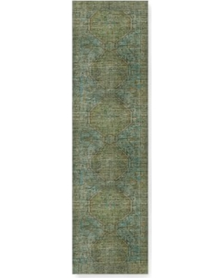 Anatolia Overdyed Hand Knotted Rug, 3X10', Green