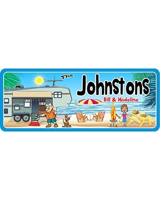 Custom RV Welcome Sign with Beach Background - RV Decor & Camping Signs - RV Wall Art & Motorhome Signs
