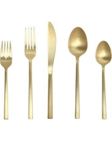 Fortessa Arezzo 5 Piece 18/10 Stainless Steel Flatware Set Service for 1 5PPS-1656B-05 Color: Brushed Gold