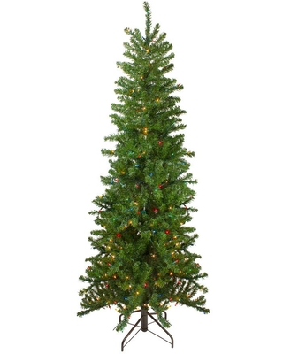 Northlight 7.5 ft. Pre-Lit Canadian Pine Artificial Pencil Christmas Tree with Multi-Lights