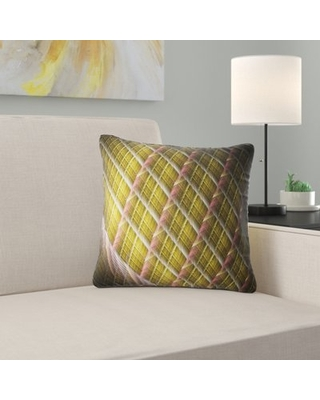 """Abstract Metal Protective Grids Pillow East Urban Home Size: 18"""" x 18"""", Product Type: Throw Pillow"""