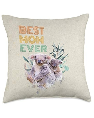 Mother's Day Gift Animal Nature Love Best Mom Ever Mama Koala Bear Cute Animal Mother's Day Gift Throw Pillow, 18x18, Multicolor