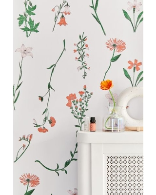 georgina floral removable wallpaper orange at urban outfitters