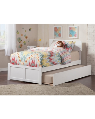 Orlando Twin Platform Bed with Flat Panel Foot Board and Twin Size Urban Trundle Bed in White (Twin - White)