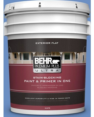 BEHR ULTRA 5 gal. #590B-5 Purple Hyacinth Flat Exterior Paint and Primer in One