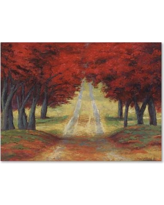 """Trademark Art Autumn Pathway by Daniel Moises Painting Print on Wrapped Canvas MA0757-C Size: 18"""" H x 24"""" W x 2"""" D"""