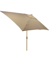 6.5' x 10' Rectangle Umbrella - Taupe (Brown) - Light Wood Finish - Threshold