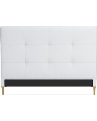 Brooklyn Headboard Only, Queen, Brushed Canvas, White, Antique Brass