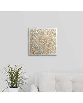 """Great Big Canvas 'Gilded Rome Map' by Laura Marshall Graphic Art Print 2357984_1 Size: 16"""" H x 16"""" W x 1.5"""" D Format: Canvas"""