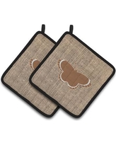 East Urban Home Butterfly Qyilted Black Trim Gray Potholder EAAS4461 Color: Brown