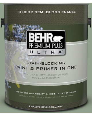BEHR Premium Plus Ultra 1 gal. #440F-4 Athenian Green Semi-Gloss Enamel Interior Paint and Primer in One