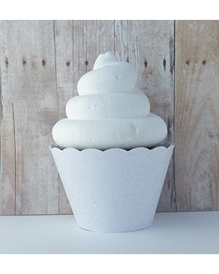White Glitter Cupcake Wrappers Mini Dessert Holders Birthday Party Decorations Set of 12