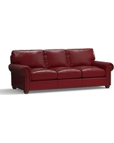 """Webster Leather Grand Sofa 94.5"""" with Bronze Nailheads, Down Blend Wrapped Cushions, Leather Signature Berry Red"""