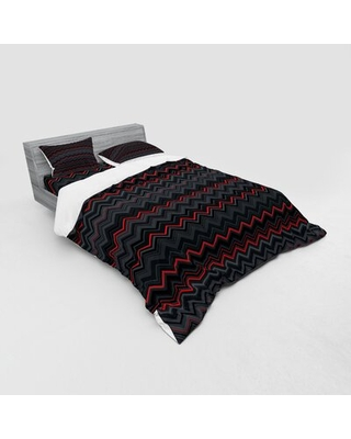 Horizontal Design with Bold Thin Print Duvet Cover Set East Urban Home Size: Queen Duvet Cover + 3 Additional Pieces