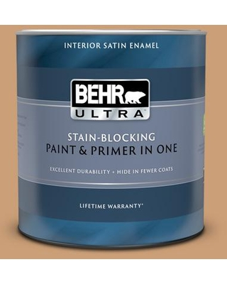 BEHR ULTRA 1 qt. #ICC-62 Pumpkin Butter Satin Enamel Interior Paint and Primer in One