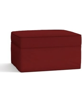 Pearce Slipcovered Ottoman, Polyester Wrapped Cushions, Twill Sierra Red