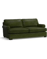 Townsend Roll Arm Leather Loveseat, Polyester Wrapped Cushions, Leather Legacy Forest Green