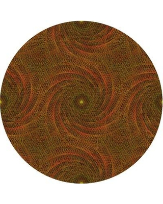 East Urban Home Abstract Wool Green/Orange Area Rug X113648128 Rug Size: Round 4'