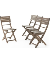 Positano Set of 4 Acacia Wood Foldable Dining Chairs - Gray Finish - Christopher Knight Home
