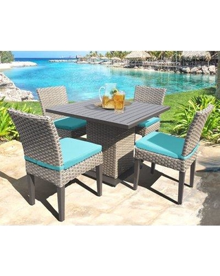 Sol 72 Outdoor Rockport 5 Piece Dining Set with Cushions W001379948 Cushion Color: Aruba