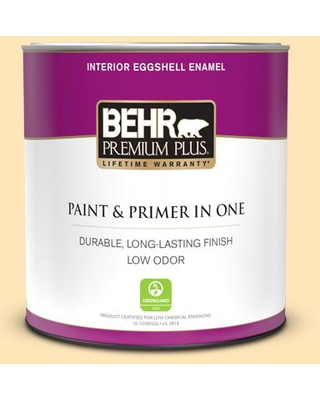 BEHR PREMIUM PLUS 1 qt. #300A-2 Whisper Yellow Eggshell Enamel Low Odor Interior Paint and Primer in One