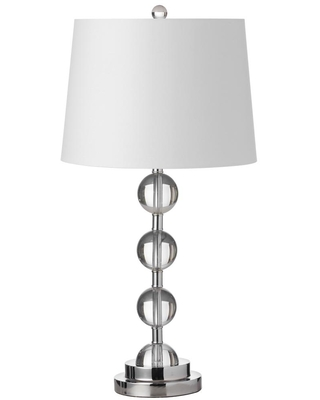 Dainolite 26 in. H 1-Light Clear Table Lamp with Laminated Fabric Shade