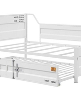 17 Stories Owatonna Twin Daybed with Trundle X113410320 Bed Frame Color: White