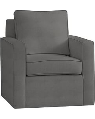 Cameron Square Arm Upholstered Swivel Armchair, Polyester Wrapped Cushions, Basketweave Slub Charcoal