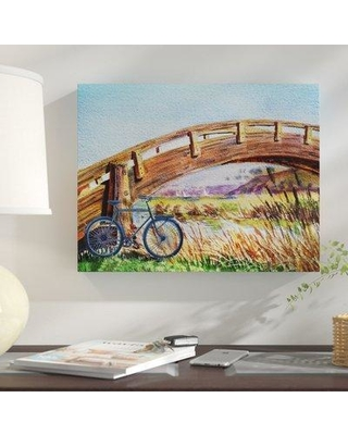 "Winston Porter Karg 'Bicycle at the Bridge' Graphic Art Print on Canvas BF076734 Size: 14"" H x 18"" W x 2"" D Format: Wrapped Canvas"