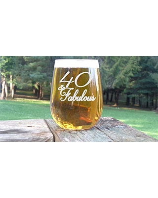 40 And Fabulous Birthday Wine Glass For Women Gift Turning
