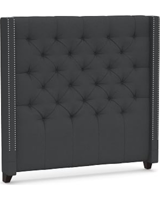 Harper Upholstered Tufted Tall Headboard with Pewter Nailheads, Queen, Premium Performance Basketweave Charcoal