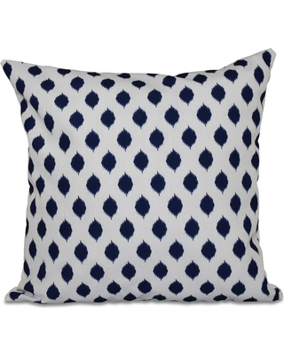 E BY DESIGN 16 in. x 16 in. Cop-IKAT Geometric Print Pillow in Spring Navy, Navy Blue