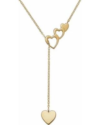 """Everlasting Gold 10k Gold Heart Lariat Necklace, Women's, Size: 17"""""""