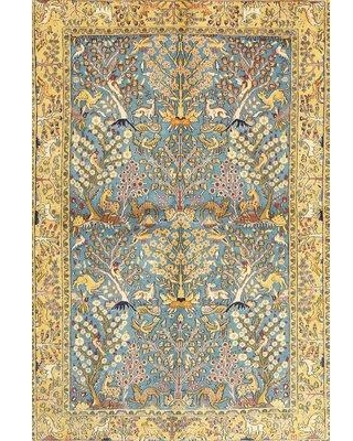 Check Out Deals On Bloomsbury Market Jardins Traditional Yellow Blue Area Rug Wool Polyester In Blue Yellow Gold Size Round 5 Wayfair