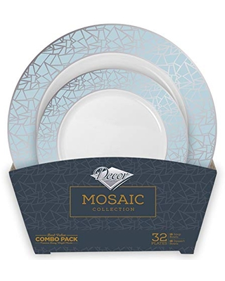 Mosaic Combo Bowl | Silver | Pack of 16-12 Oz Soup Bowls and 16-5 Oz Dessert Bowls