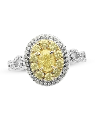 Jared The Galleria Of Jewelry Diamond Engagement Ring 1 ct tw Round/Oval 14K Two-Tone Gold