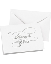 Wedding Thank You Cards (50 count) - Silver
