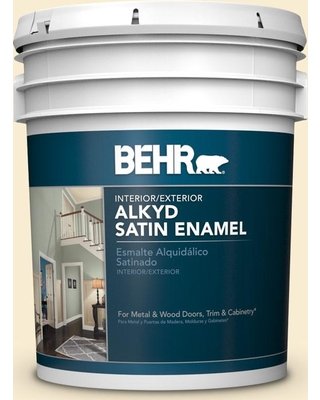 BEHR 5 gal. #330A-1 Bonnie Cream Urethane Alkyd Satin Enamel Interior/Exterior Paint