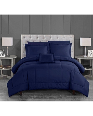 Chic Home Twin 6pc Jorin Bed in a Bag Comforter Set Navy