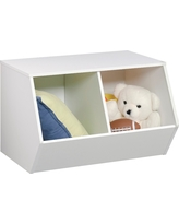 Stackable Laminate 2-Compartment Bin White - Pillowfort