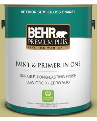 BEHR Premium Plus 1 gal. #T13-19 Gnome Green Semi-Gloss Enamel Low Odor Interior Paint and Primer in One