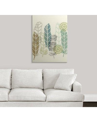 """Great Big Canvas 'Feathers in a Row II' Jennifer Goldberger Graphic Art Print 2275820_ Format: Canvas Size: 36"""" H x 27"""" W x 1.5"""" D"""