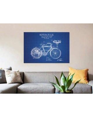 """East Urban Home 'Floyd Bingham Motorcycle Patent Sketch' Graphic Art Print on Canvas in Blue Grid ERBR0071 Size: 8"""" H x 12"""" W x 0.75"""" D"""