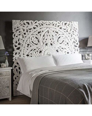 Siam Sawadee Queen Size Boho Carved Wood Bed Headboard Hand Sculpted Wall Art Hanging From Chiang Mai Thailand 60x60 Inches From Amazon People