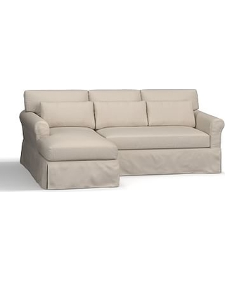 York Roll Arm Deep Seat Slipcovered Right Arm Sofa with Chaise Sectional, Down Blend Wrapped Cushions, Sunbrella(R) Performance Herringbone Oatmeal