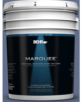 BEHR MARQUEE 5 gal. #600F-6 Atlantic Blue Satin Enamel Exterior Paint and Primer in One