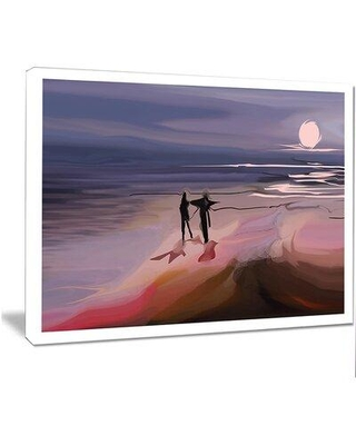 "Design Art 'Couple Walking near Ocean at Night' Painting Print on Wrapped Canvas, Canvas & Fabric in Purple, Size 12"" H x 20"" W 