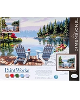 Dimensions PaintWorks Paint by Numbers Kit for Adults and Kids, Lakeside Morning, 20'' x 16''